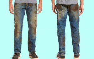 Nordstrom's $425 Muddy Jeans; Front and Back view