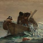 Here Homer depicted the heroic efforts of fishermen at their daily work, hauling in an abundant catch of herring. In a small dory, two figures loom large against the mist on the horizon, through which the sails of the mother schooners are dimly visible. While one fisherman hauls in the netted and glistening herring, the other unloads the catch. Utilizing the teamwork so necessary for survival, both strive to steady the precarious boat as it rides the incoming swells. Homer's isolation of these two figures underscores the monumentality of their task: the elemental struggle against a sea that both nurtures and deprives.
